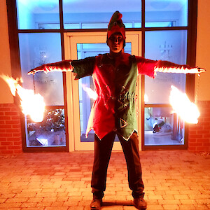 christmas fire performer